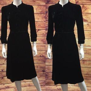 Marc Jacobs Black Velvet Ruffle Midi Dress
